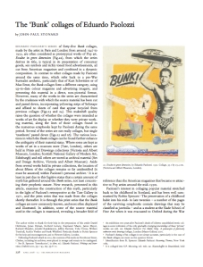 'Eduardo Paolozzi's Bunk Collages', in: The Burlington Magazine, April 2008.